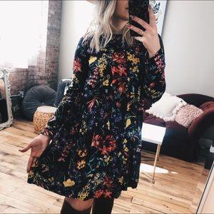 Floral boho Long sleeve Dress Oversized